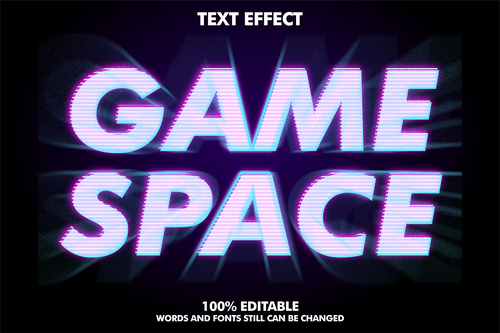 GAME SPACE 3d editable text style effect vector