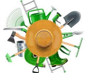 Garden Accessories with Straw Hat vector