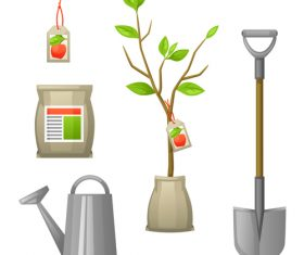 Gardening with tools vector