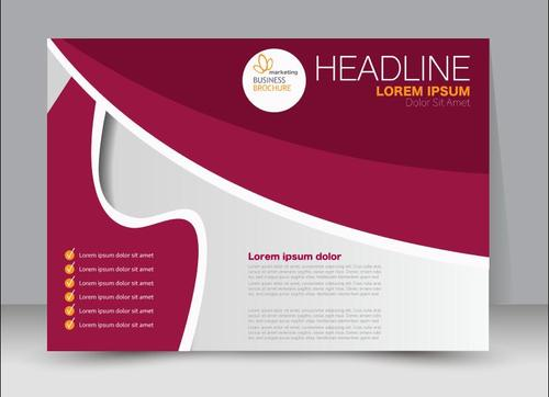 Geometric figure white and red business brochure vector