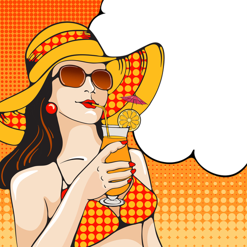 Girl beach illustration vector