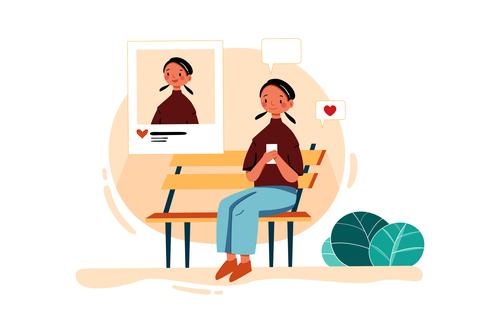 Girl job hunting cartoon illustration vector
