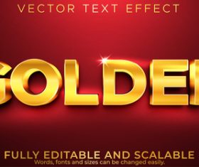 Glitter gold 3d editable text style effect vector