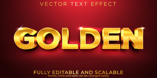 Glitter gold 3d editable text style effect vector