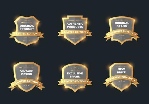 Glitter golden sale label vector