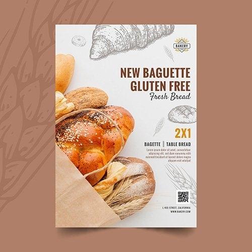 Gluten free baguette vertical flyer vector