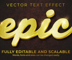 Golden 3d editable text style effect vector