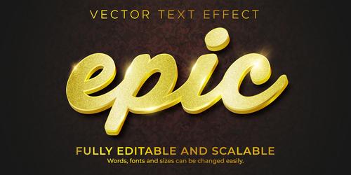 Golden 3d editable text style effect vector