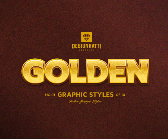Golden graphic styles text styles vector