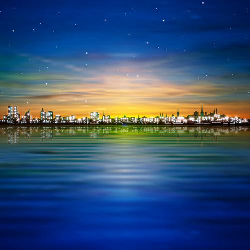 Golden sunset city vector