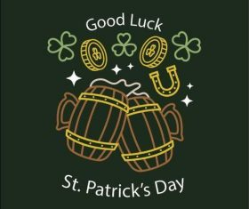 Good luck st patricks label vector
