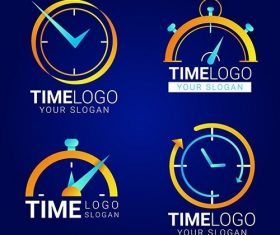 Gradient time logos pack vector
