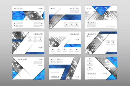 Gray and blue business flyer vector