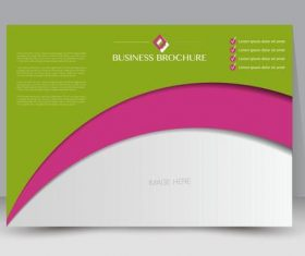 Green and pink business brochure vector