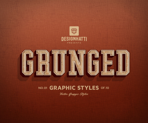 Grunged graphic styles text styles vector