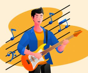 Guitar playing illustrator vector