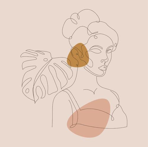 Half body female line sketch vector