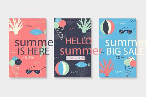 Hand drawn summer cards collection vector