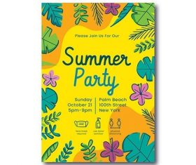 Hand-drawn summer party vertical poster template vector