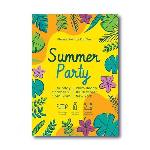 Hand drawn summer party vertical poster template vector
