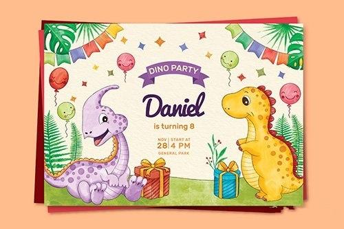 Hand painted watercolor dinosaur birthday invitation vector
