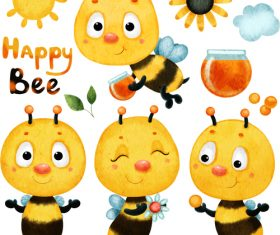 Happy bee cartoon illustration vector