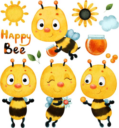 Happy bee cartoon illustration vector