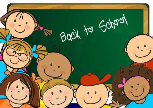 Happy children in the classroom vector
