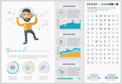 Happy people infographic elements vector