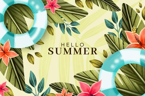 Happy summer plant background card vector