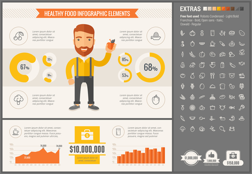 Healthy food infographic elements vector