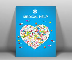Heart-shaped graphic drug ad vector composed of drugs