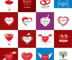Heart-shaped wedding icon vector