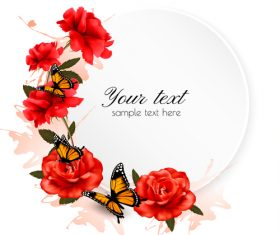 Holiday background with beautiful red flowers and butterflies vector