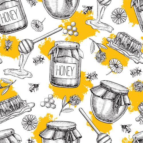 Honey pot illustration background vector