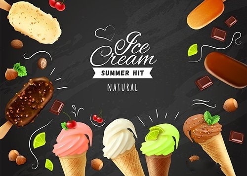 Ice cream chalkboard with frame of eskimo pies cones vector