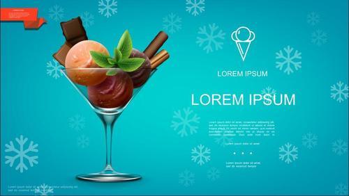 Ice cream cold drink flyer vector