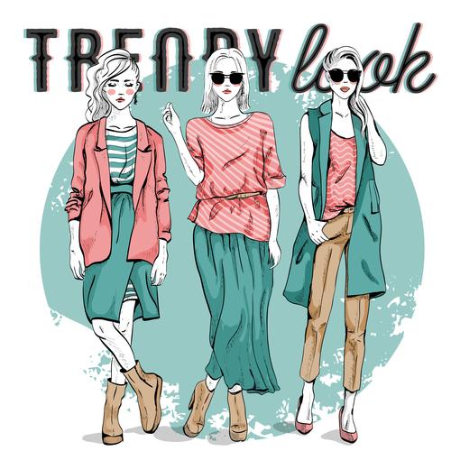 Illustration fashion girl vector
