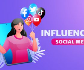 Influencer social media illustrator vector
