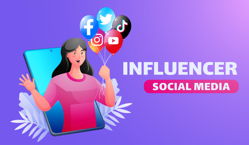 Influencer social media illustrator vector