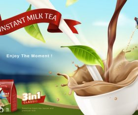 Instant milk tea flyer vector