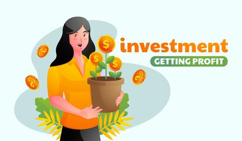 Investment getting profit illustrator vector