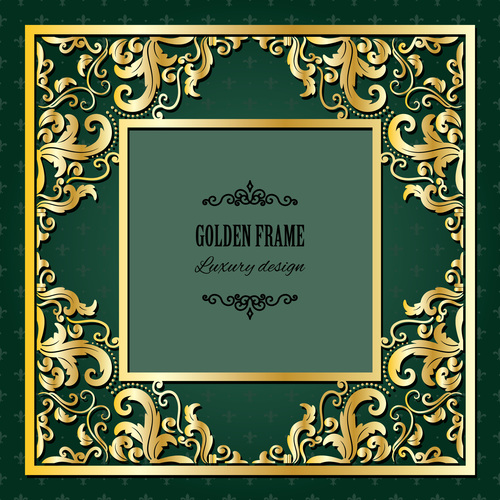 Invitation cards with gold decor vector