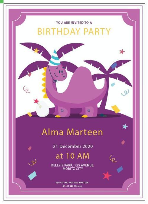 Invitation purple dino vector