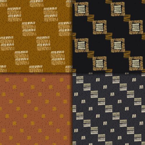 Irregular ethnic style seamless patterns vector