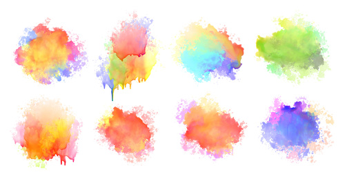 Isolated watercolor splatter stain colorful set eight vector