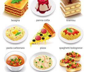 Italian food icons realistic vector