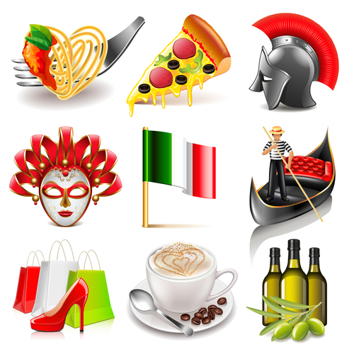 Italy icons realistic vector