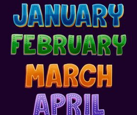 January february march april lettering vector