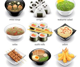 Japanese food icons realistic vector